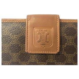 Céline-CELINE vintage Macadam card holder-Brown,Cognac