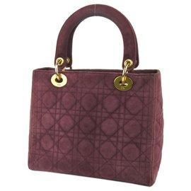 Dior-Cartable Dior Lady Dior en daim rouge-Rouge,Autre