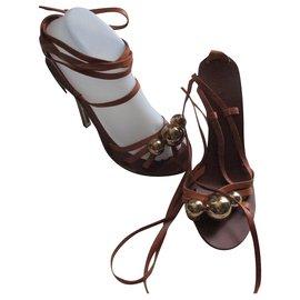Chloé-Camel leather sandals, 39.-Caramel