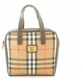Burberry-Burberry Nova Check Nylon Hand bag-Brown