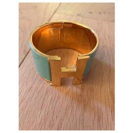 Hermès-Bracelet Hermès Clic H Couleur bleu lagon et doré-Bleu