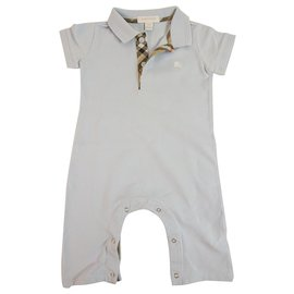 Burberry-Burberry light blue polo overall check collar for infant 12 months or 80cm tall-Light blue