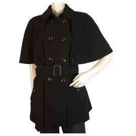 Burberry-Burberry Black Virgin Wool & Cashmere Belted Trench Jacket Short Coat UK 8 USA 6-Black