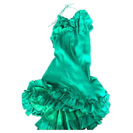 Dsquared2-Silk ruffle dress-Green