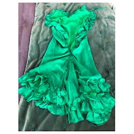 Dsquared2-Robe à volants en soie-Vert