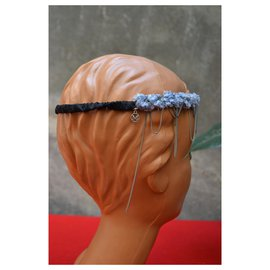 Maison Michel-MAISON MICHEL headband cotton headband and CHANEL chains-Light blue