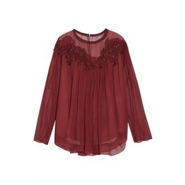 Chloé-Silk lace blouse with Guipure embroidery-Dark red