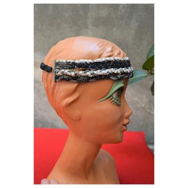 Maison Michel-MAISON MICHEL headband cotton headband and CHANEL chains-Black