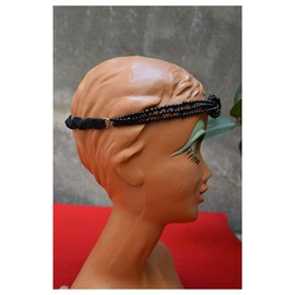 Maison Michel-MAISON MICHEL headband headband CHANEL glass beads-Black