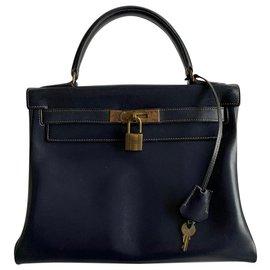 Hermès-Kelly 25 retourné en cuir box bleu marine (vintage 1960)-Bleu Marine