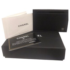 Chanel-Chanel card holder in grained leather, black , Brand new never used-Black