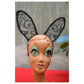 Maison Michel-Maison MICHEL headband rabbit ears in black lace CHANEL-Black