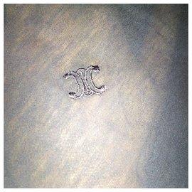 Céline-Semi-transparent top by Phoebe Philo. Celine embroidered coat of arms.  Jamais porté. size xs.-Navy blue