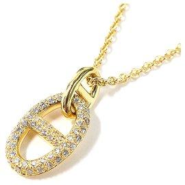 Hermès-Hermes Gold 18Collier pendentif Chaine dAncre en or jaune K-Argenté,Doré