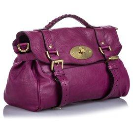 Mulberry-Mulberry Purple Leather Alexa Satchel-Purple