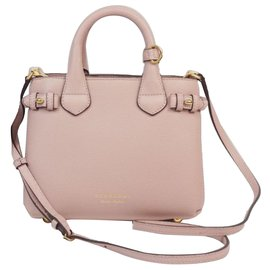 Burberry-Burberry Pink Small Banner Leather Satchel-Brown,Pink,Other