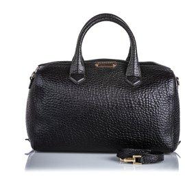 Burberry-Burberry Black Pebbled Leather Satchel-Black