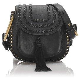 Chloé-Chloe Black Leather Hudson Crossbody Bag-Black
