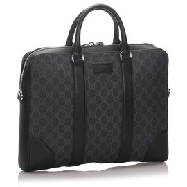 Gucci-Gucci Black GG Supreme Business Bag-Black