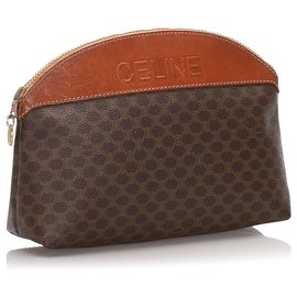 Céline-Celine Brown Macadam Clutch Bag-Brown