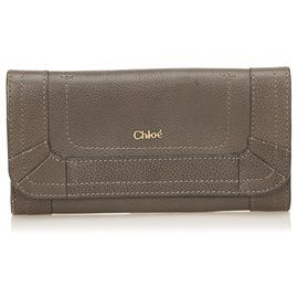 Chloé-Chloe Brown Leather Paraty Wallet-Brown