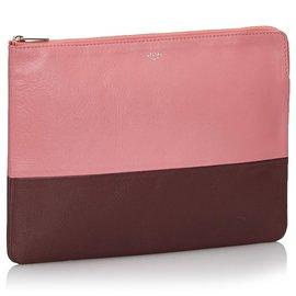 Céline-Celine Pink Bicolor Leather Clutch Bag-Pink,Red,Dark red
