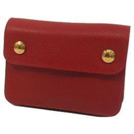 Hermès-Hermes Red Courchevel Pochette Green Waist Bag-Red