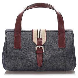 Burberry-Burberry Gray Denim Handbag-Red,Other,Grey