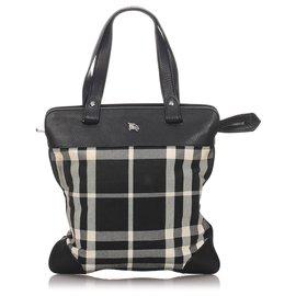 Burberry-Burberry Black Check Canvas Tote Bag-Black,Multiple colors