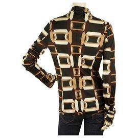 Costume National-Costume National Geometrical Brown Beige Black Key Hole Top Blouse sz 42-Multiple colors