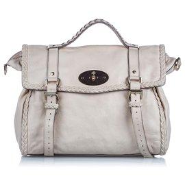 Mulberry-Mulberry White Leather Alexa Satchel-White