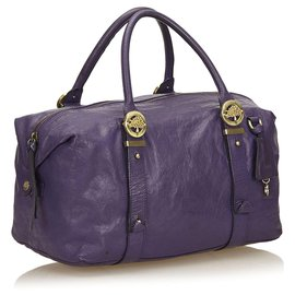 Mulberry-Mulberry Purple Leather Duffel Bag-Purple