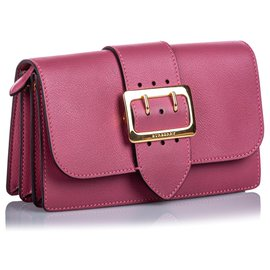 Burberry-Burberry Pink Leather Buckle Crossbody Bag-Pink