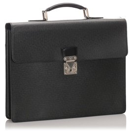 Louis Vuitton-Louis Vuitton Black Taiga Serviette Kourad Briefcase-Black