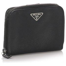 Prada-Prada Black Saffiano Small Wallet-Black