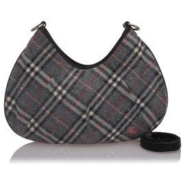 Burberry-Burberry Black Nova Check Woold Hobo Bag-Black