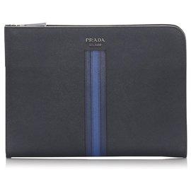 Prada-Prada Blue Saffiano Document Case-Blue,Dark blue