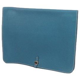 Hermès-Hermes Blue Togo Dogon Portfolio-Blue,Light blue