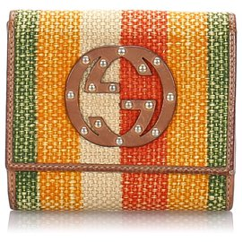 Gucci-Gucci Brown Canvas Wallet-Brown,Multiple colors