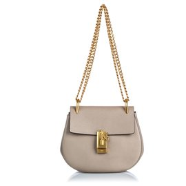 Chloé-Chloe Gray Leather Drew Crossbody Bag-Golden,Grey