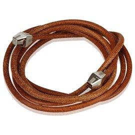 Hermès-Hermes Brown Leather Rope Waist Belt-Brown,Silvery