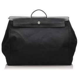 Hermès-Hermes Black Canvas Herbag GM Satchel-Black