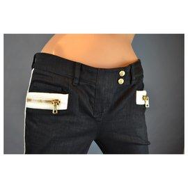 Balmain-Jean BALMAIN biker T 38 pantalon skinny coton noir blanc attributs dorés-Noir