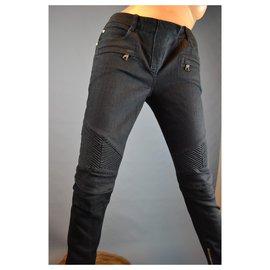 Balmain-Jean BALMAIN biker T 38 pantalon skinny coton noir attributs argentés-Noir