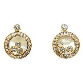 Chopard-Chopard 18K Yellow Gold Happy Diamonds Earrings-Golden