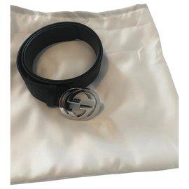 Gucci-Gucci lined GG belt new-Black