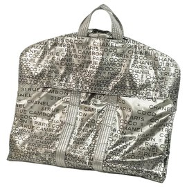 Chanel-Chanel Silver Nylon Garment Bag-Black,Silvery