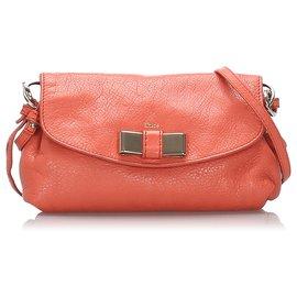 Chloé-Chloe Orange Leather Lily Shoulder Bag-Orange