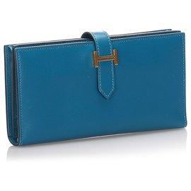 Hermès-Hermes Blue Swift Bearn Wallet-Blue