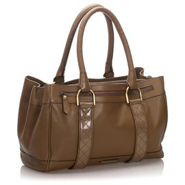 Burberry-Burberry Brown Leather Shoulder Bag-Brown
